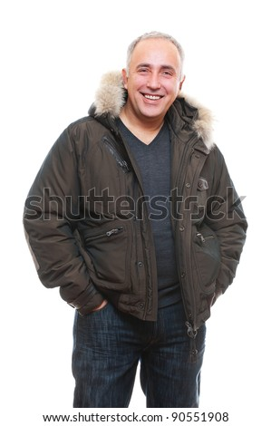 portrait of laughing senior man in winter coat. isolated on white background - stock photo
