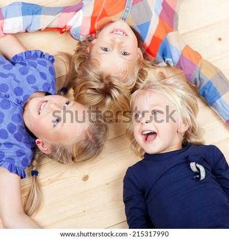Portrait of laughing young girls having fun together - stock photo