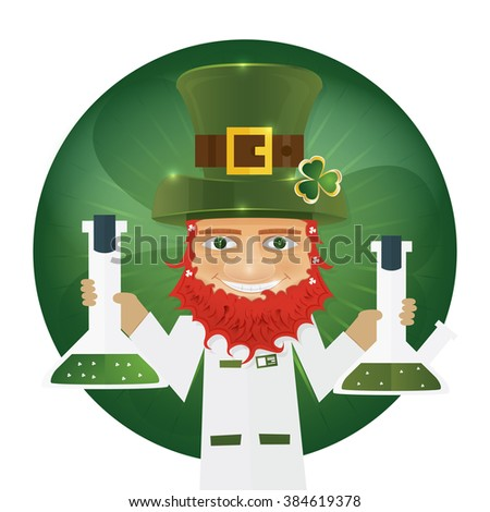 Portrait of Leprechaun Scientist holding flask in hands. Irish man with clover leaf and hat. St. Patrick's Day design with copy space.