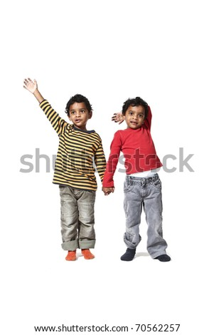 portrait of litlle Indian boy on a white background