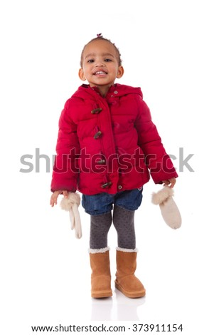 Portrait of little African American little girl isolated other white background - stock photo