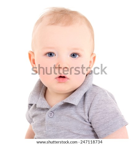 portrait of little baby boy isolated on white background - stock photo