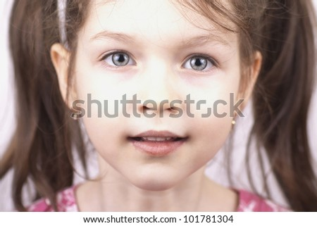 Portrait of little beautiful girl, close up - stock photo