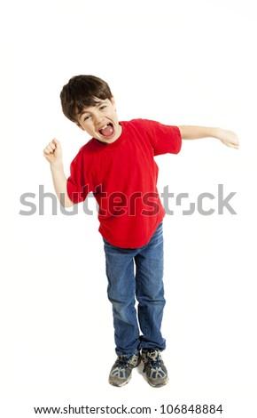 Portrait of little boy, isolated on white background - stock photo
