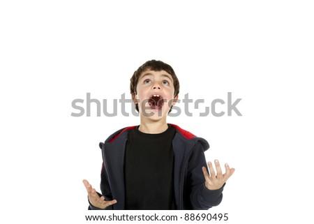 portrait of little boy on white background - stock photo