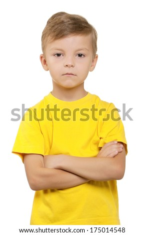 Portrait of little boy over white background - stock photo