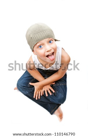 Portrait of little boy to stick out - stock photo