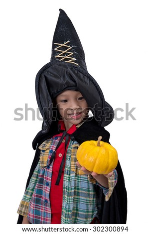 Portrait of little boy wearing halloween costume with pumpkin on white background,Cute little boy trick or treating on Halloween. Isolated on white,Halloween theme - stock photo