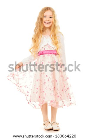 Portrait of little fashion girl. Isolated white backround. - stock photo