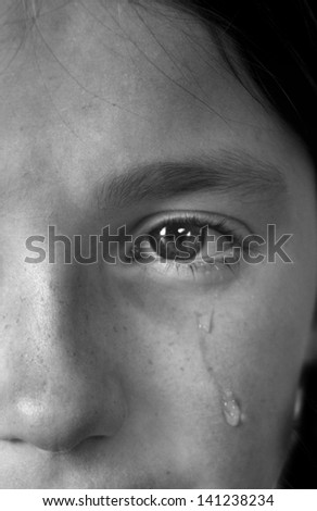 Portrait of little girl crying with tears rolling down her cheek - stock photo
