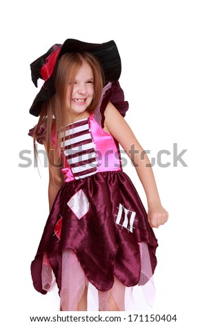 Portrait of little girl in black hat isolated on white background on Holiday theme/Caucasian magic witch - stock photo