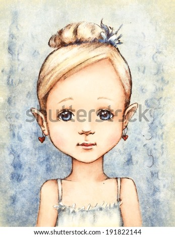 Portrait of Little Girl in Blue - stock photo