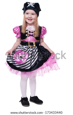 portrait of little girl in pirate costume - stock photo