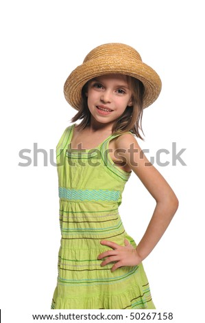 Portrait of little girl wearing a hat ans smiling isolated on a white background - stock photo