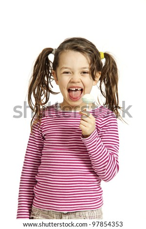 portrait of little girl with a lollipop, isolated on white background
