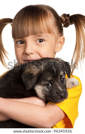 Portrait of little girl with cute puppy isolated on white background
