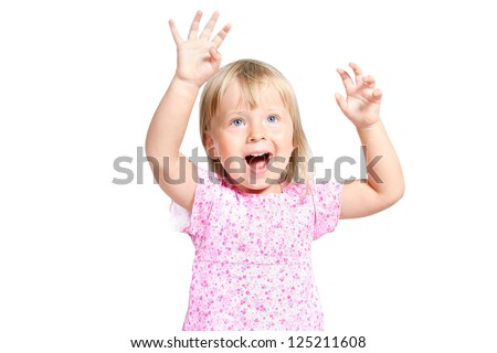 Portrait of little girl with expression emotions isolated over white - stock photo