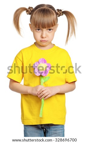 Portrait of little girl with flower isolated on white background - stock photo
