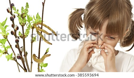 portrait of little girl with handkerchief  - allergy - stock photo