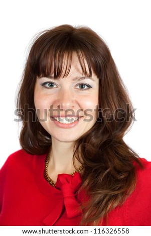 portrait of long-haired brunette girl over white - stock photo