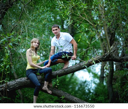 Portrait of love couple  outdoor in park on the tree - stock photo