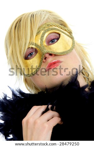 Portrait of lovely blond model posing with golden carnival mask. Isolated on white background. - stock photo