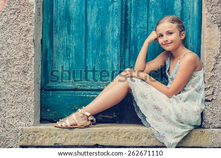 Portrait of lovely fashion girl - stock photo