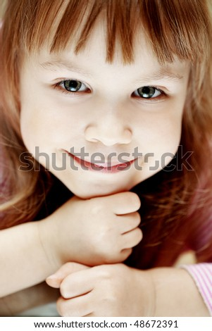 Portrait of lovely kid girl close-up - stock photo