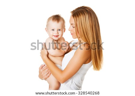 portrait of lovely mother holding her happy baby boy over white background - stock photo