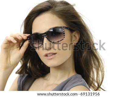 portrait of lovely woman in sunglass - stock photo