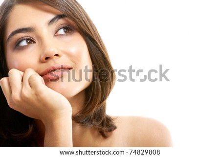 Portrait of lovely young woman isolated on a white background - stock photo