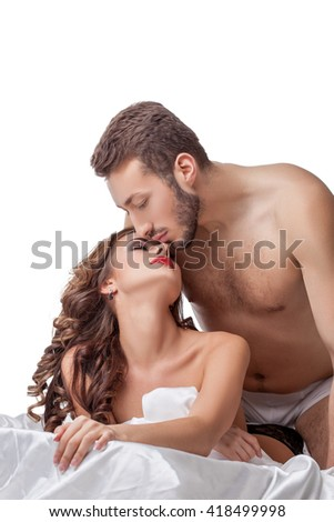 Portrait of lovers tenderly touching each other - stock photo