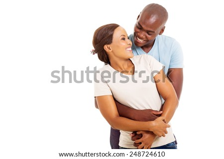 portrait of loving african couple embracing isolated on white background - stock photo
