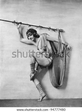 Portrait of male dancer in costume - stock photo