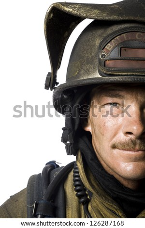 Portrait of male firefighter - stock photo