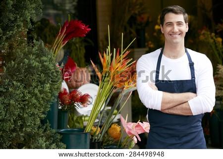 Portrait Of Male Florist Outside Shop - stock photo