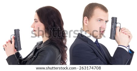 portrait of man and woman special agents with guns isolated on white background - stock photo