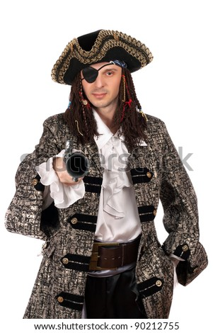 Portrait of man dressed as pirate with a pistol in hand. Isolated on white - stock photo