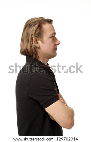 portrait of man dressed casual,  isolated on white background - stock photo
