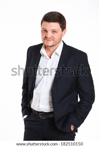 Portrait of man in black suit. Isolated over white background - stock photo