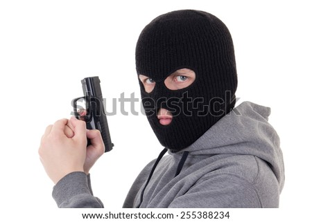 portrait of man in mask aiming with gun isolated on white background