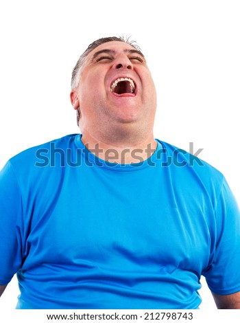 Portrait of man laughing hysterically isolated over white background