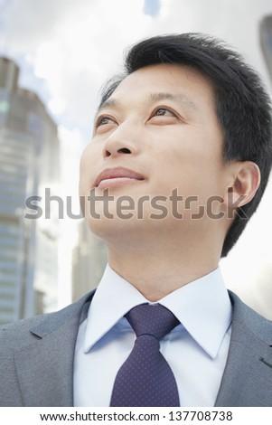 Portrait of Man Looking Away - stock photo