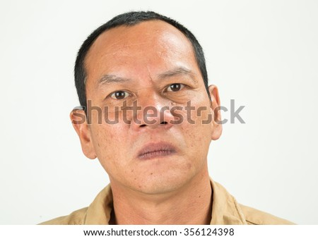 Portrait of man on white background.