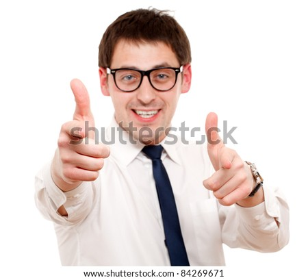 Portrait of man pointing at you. Isolated over white. Focused on hands.