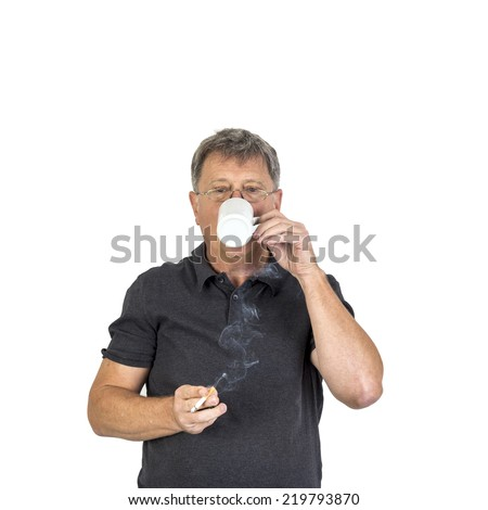 portrait of man smoking and drinking coffee