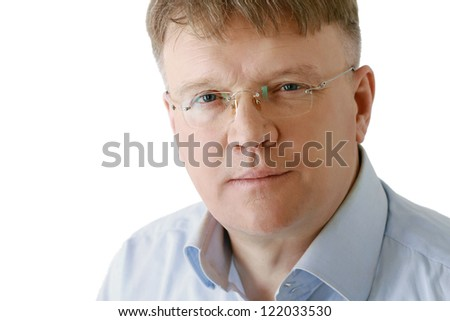 Portrait of man wearing glasses, isolated on white background
