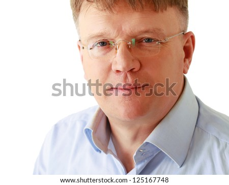 Portrait of man wearing glasses, isolated on white background - stock photo