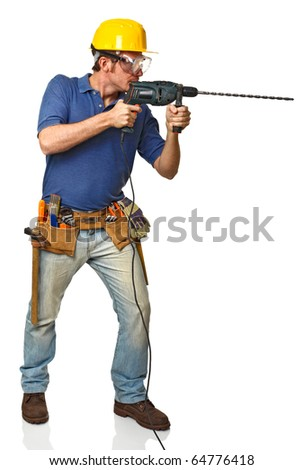 portrait of manual worker on duty isolated on white - stock photo