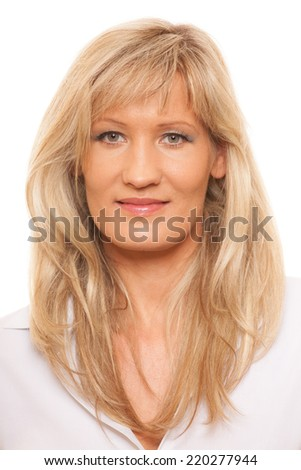 Portrait of mature business woman isolated over white background